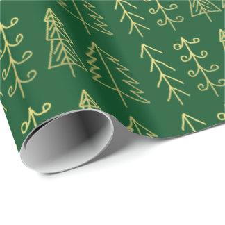 Modelo de los árboles de navidad del oro verde papel de regalo