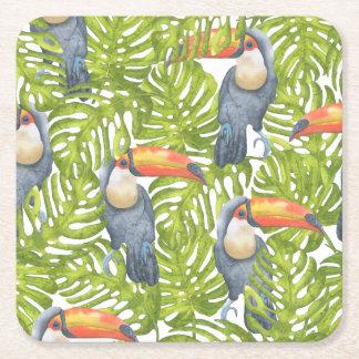 Modelo de los árboles del pájaro de Toucan de la Posavasos De Cartón Cuadrado