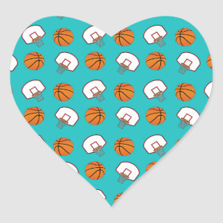 Modelo de los baloncestos y de las redes de la calcomanías de corazones personalizadas