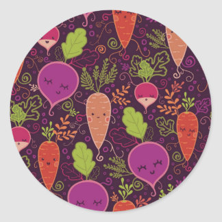 Modelo de los caracteres de las verduras de raíz pegatina redonda