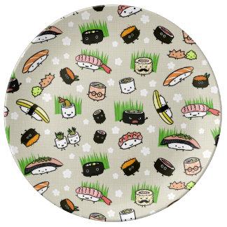 Modelo de los caracteres del sushi plato de cerámica