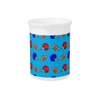 Modelo de los cascos de fútboles del azul de cielo jarron