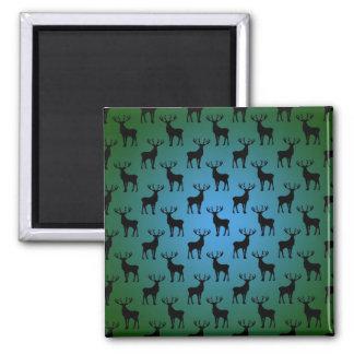 Modelo de los ciervos del dólar en verde azul imán cuadrado