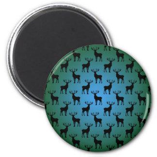 Modelo de los ciervos del dólar en verde azul imán redondo 5 cm
