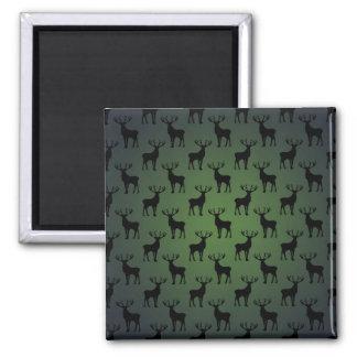 Modelo de los ciervos del dólar en verde imán cuadrado