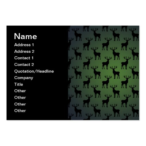 Modelo de los ciervos del dólar en verde plantilla de tarjeta personal