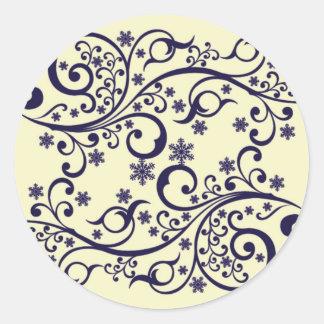 Modelo de los copos de nieve de la flor del pegatina redonda