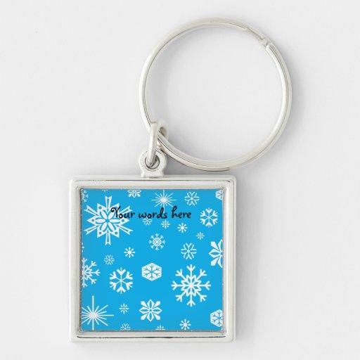 Modelo de los copos de nieve del azul de cielo llavero cuadrado plateado