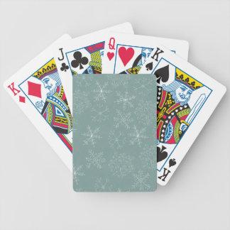 Modelo de los copos de nieve del día de fiesta baraja de cartas
