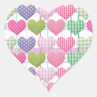 Modelo de los corazones de la guinga pegatina en forma de corazón