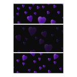 Modelo de los corazones del amor en negro y invitación 12,7 x 17,8 cm