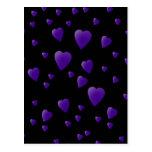 Modelo de los corazones del amor en negro y postal