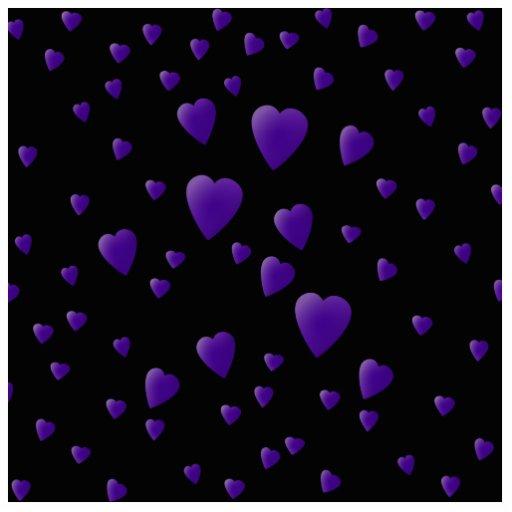 Modelo de los corazones del amor en negro y púrpur escultura fotográfica