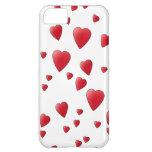 Modelo de los corazones del amor en rojo y blanco