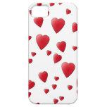 Modelo de los corazones del amor en rojo y blanco iPhone 5 protector