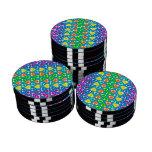 modelo de los corazones del arco iris del azul de  fichas de póquer