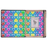 modelo de los corazones del arco iris del azul de  iPad carcasas