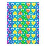 modelo de los corazones del arco iris del azul de  membrete personalizado