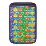 Modelo de los corazones del arco iris fundas para macbook air