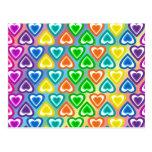 Modelo de los corazones del arco iris tarjetas postales