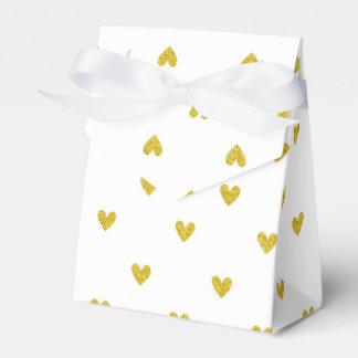 Modelo de los corazones del brillo del oro cajas para detalles de boda