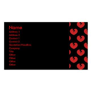 Modelo de los corazones quebrados tarjetas de visita