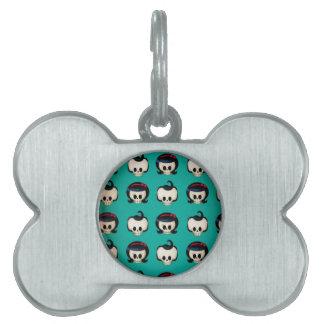 Modelo de los cráneos del Rockabilly Placa De Nombre De Mascota