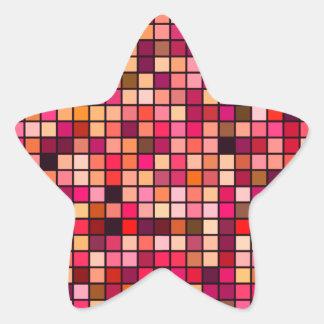 Modelo de los cuadrados de los tonos del rosa, del pegatina en forma de estrella