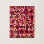 Modelo de los cuadrados de los tonos del rosa, del puzzles con fotos