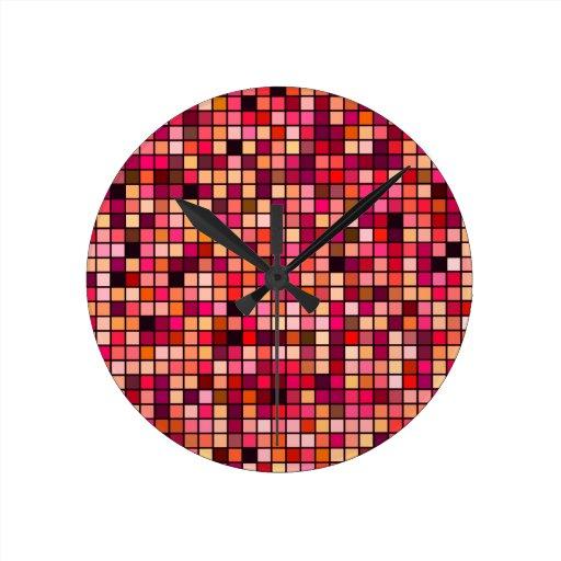 Modelo de los cuadrados de los tonos del rosa, del reloj de pared