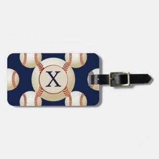 Modelo de los deportes de las bolas del béisbol etiqueta para equipaje