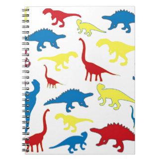 Modelo de los dinosaurios del color primario spiral notebooks