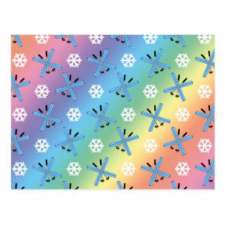 modelo de los esquís y de los copos de nieve del a tarjetas postales