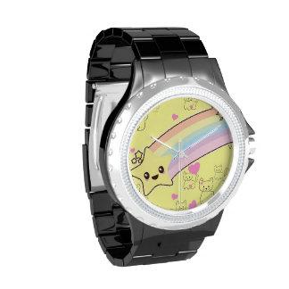 Modelo de los gatitos del arco iris de Kawaii tan Relojes De Pulsera