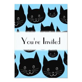 """Modelo de los gatos negros en azul invitación 5"""" x 7"""""""
