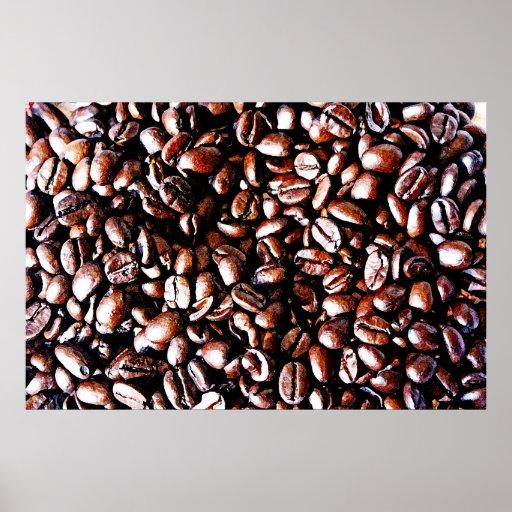 Modelo de los granos de café - carne asada oscura posters
