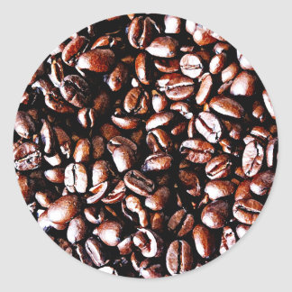 Modelo de los granos de café - carne asada oscura pegatina redonda