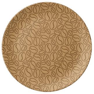 Modelo de los granos de café plato de cerámica