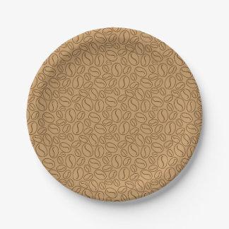 Modelo de los granos de café platos de papel