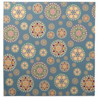 Modelo de los medallones de la flor servilletas imprimidas