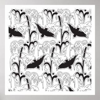 modelo de los pájaros del art déco de los años 20 posters