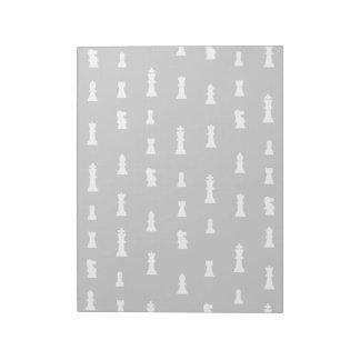 Modelo de los pedazos de ajedrez - blanco y negro bloc de papel