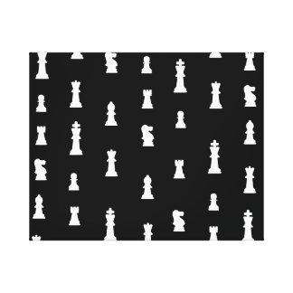 Modelo de los pedazos de ajedrez - blanco y negro impresión en lona