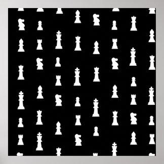 Modelo de los pedazos de ajedrez - blanco y negro poster