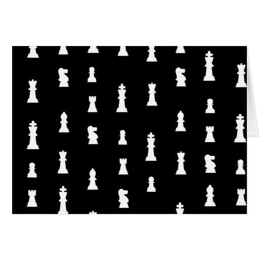 Modelo de los pedazos de ajedrez - blanco y negro tarjeta de felicitación