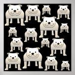 Modelo de los perros. Dogos blancos en negro Impresiones
