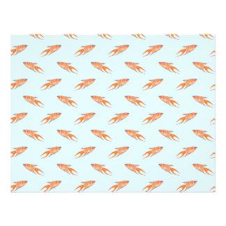 """Modelo de los pescados del paraíso en azul folleto 8.5"""" x 11"""""""