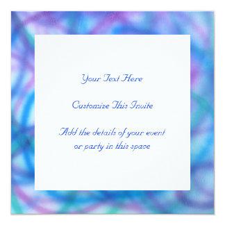 """Modelo de los remolinos del azul y de la púrpura invitación 5.25"""" x 5.25"""""""