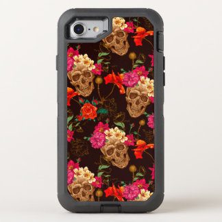 Modelo de los rosas de n de los cráneos ' funda OtterBox defender para iPhone 7