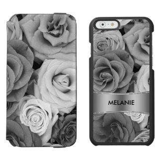Modelo de los rosas negros y blancos funda billetera para iPhone 6 watson
